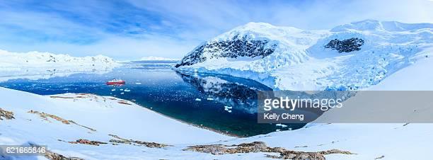 panorama of neko bay, antarctica - antarctic peninsula stock pictures, royalty-free photos & images