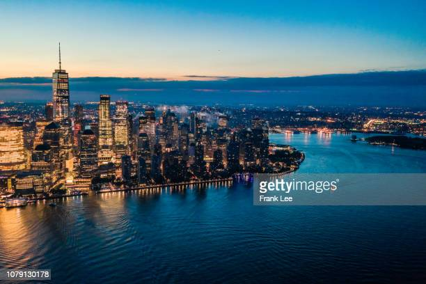 panorama of new york at sunrise - hudson river stock pictures, royalty-free photos & images