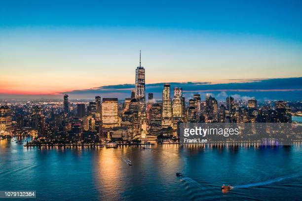 panorama of new york at sunrise - lower manhattan stock pictures, royalty-free photos & images