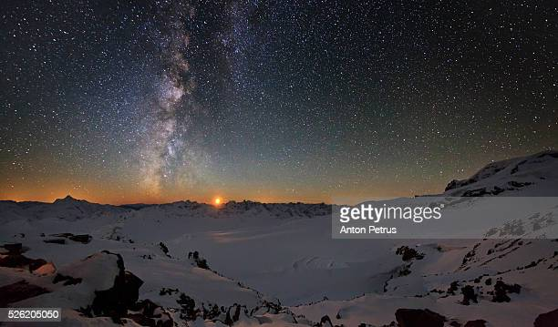 Panorama of night mountains from Elbrus slope