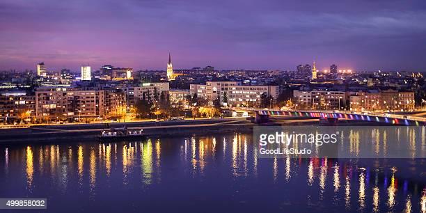 panorama of novi sad at night - serbia stock pictures, royalty-free photos & images