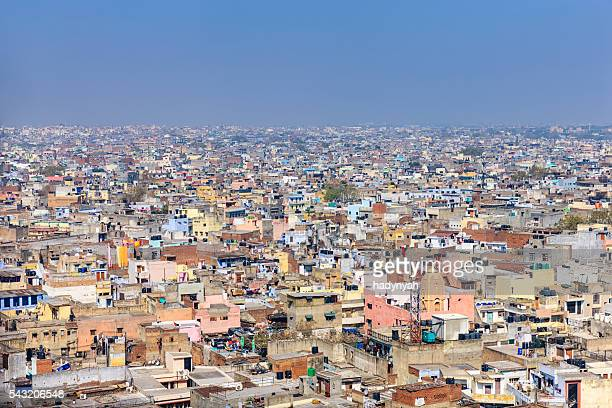 panorama of old delhi, india - delhi stock pictures, royalty-free photos & images