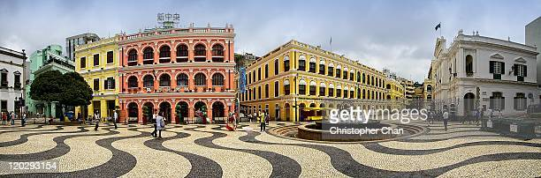 panorama of old town centre - macao stock pictures, royalty-free photos & images
