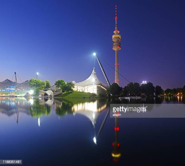 panorama of olympic park in munich - olympiastadion munich stock pictures, royalty-free photos & images