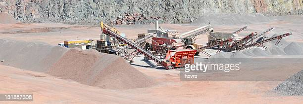 Panorama of Open-pit Mine with Earth Mover and conveyor belts