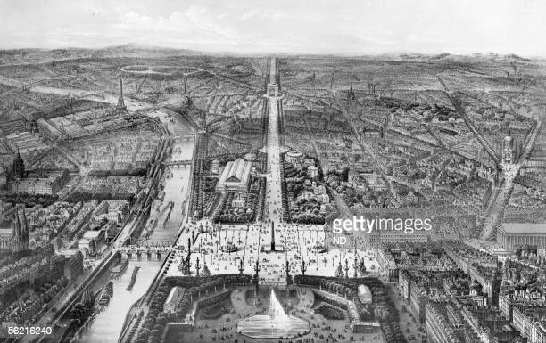 Panorama of Paris View on the ChampsElysees taken over and on the west of gardens of Tuileries