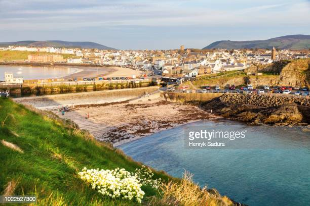 panorama of peel at sunset - isle of man stock pictures, royalty-free photos & images