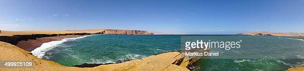 Panorama of Playa Roja in Paracas Peninsula