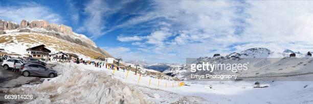 panorama of pordoi ski area - turista stock-fotos und bilder