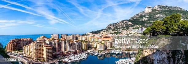 panorama of port de fontvieille - principato di monaco foto e immagini stock