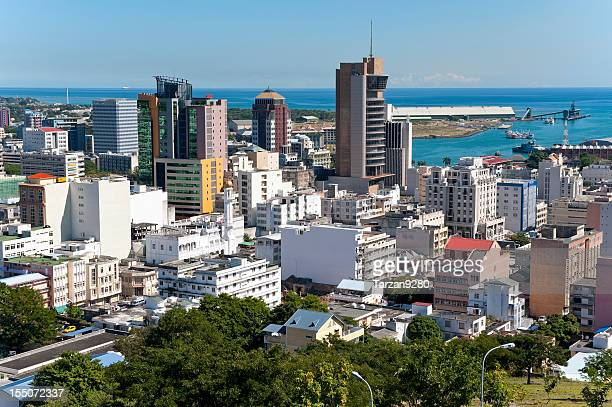 panorama of port louis, mauritius - port louis stock photos and pictures