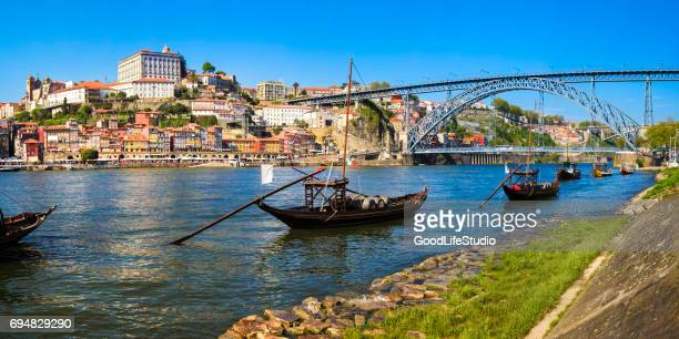 panorama of porto - douro river stock photos and pictures