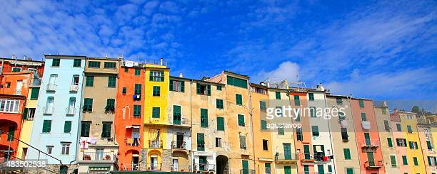 Panorama of Portovenere colorful italian buildings city life, Liguria, Italy