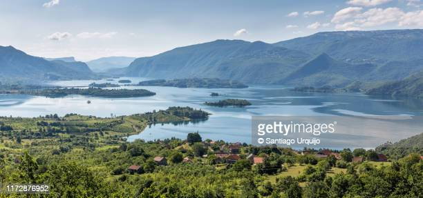 panorama of ramsko lake - bosnia and hercegovina stock pictures, royalty-free photos & images