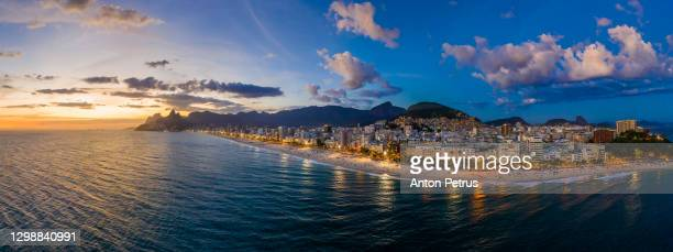 panorama of rio de janeiro at twilight, brazil. ipanema beach at sunset. rio de janeiro - rio de janeiro stock pictures, royalty-free photos & images