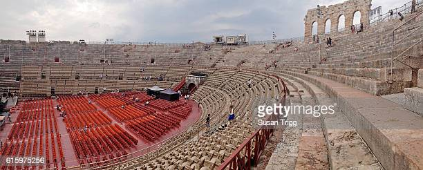 panorama of roman amphitheatre in verona, italy - amphitheatre stock photos and pictures