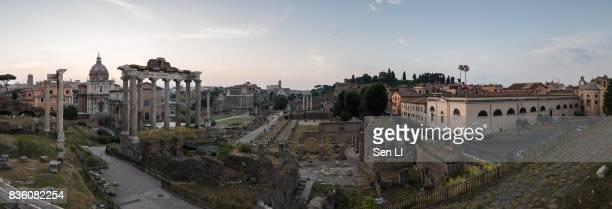Panorama of Rome Forum before the sunrise