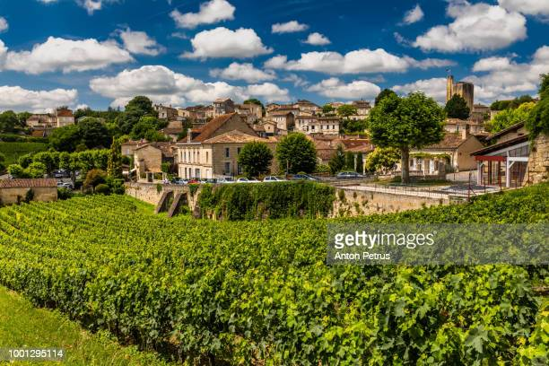 Panorama of Saint Emilion, with a beautiful sky. Bordeaux, France
