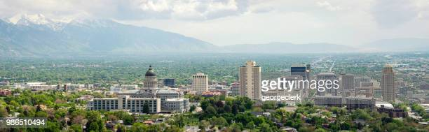 panorama of salt lake city - salt lake city utah stock photos and pictures