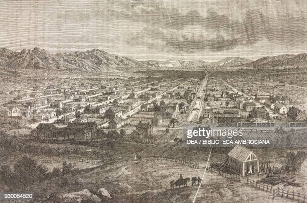 Panorama of Salt Lake City Utah United States of America drawing by FrancoisFortune Ferogio from a sketch by Stansbury and Jules Remy from Journey to...