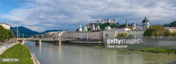 Panorama of Salzburg and the River Salzach, Salzburg, Austria.