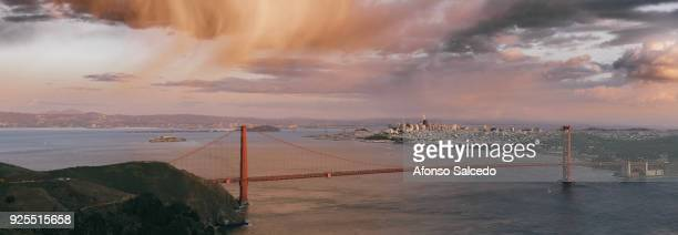 panorama of san francisco and golden gate bridge - bay bridge stock pictures, royalty-free photos & images