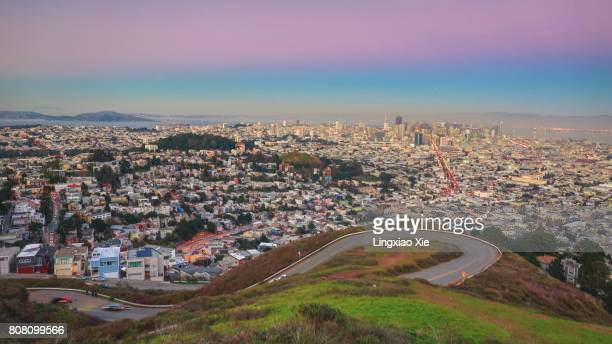 Panorama of San Francisco cityscape at dusk  from Twin Peaks