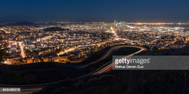 Panorama of San Francisco Night Cityscape During the Blue Hour After Sunset Taken at Twin Peaks