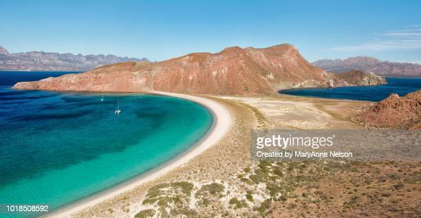 panorama of sea of cortes and pacific with hills - sea of cortez stock pictures, royalty-free photos & images