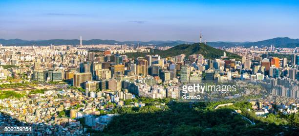 Panorama of Seoul downtown cityscape and Namsan Seoul Tower on sunset Seoul, South Korea.