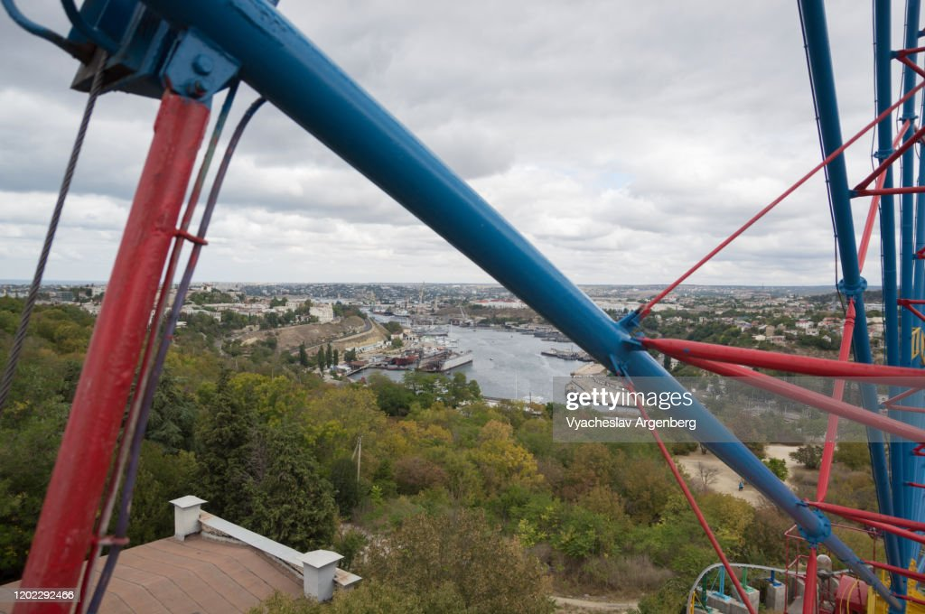 Panorama of Sevastopol from Sevastopol's ferris wheel : Stock Photo