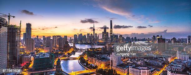 panorama of shanghai - oriental pearl tower shanghai stock pictures, royalty-free photos & images