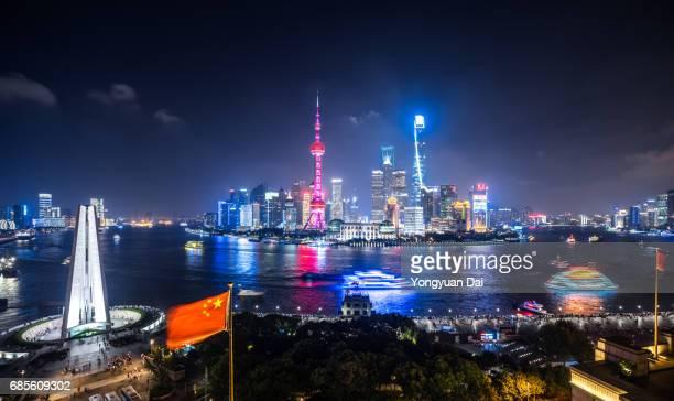 Panorama of Shanghai Skyline at Night