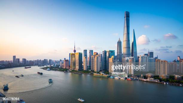 panorama of shanghai skyline - china stock pictures, royalty-free photos & images
