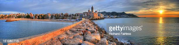Panorama of Sitges at sunrise