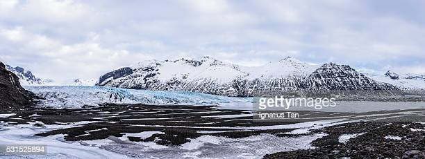 panorama of skaftafellsjökull glacier, iceland - skaftafell national park stock photos and pictures