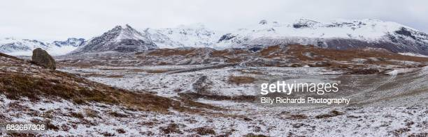 Panorama of snow covered mountain range in Iceland