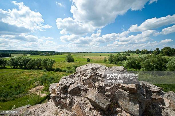 Panorama of Southern Poland with ruin of Krzyztopor Castle