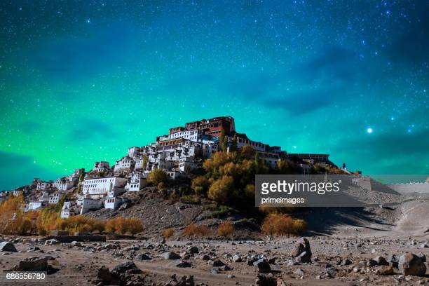 panorama of starry night in norther part of india - kashmir stock photos and pictures