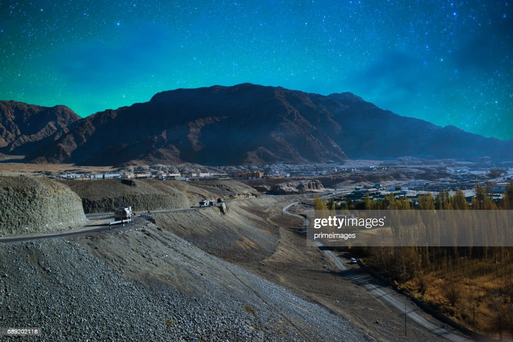 Panorama of Starry night in Norther part of India : Stock Photo