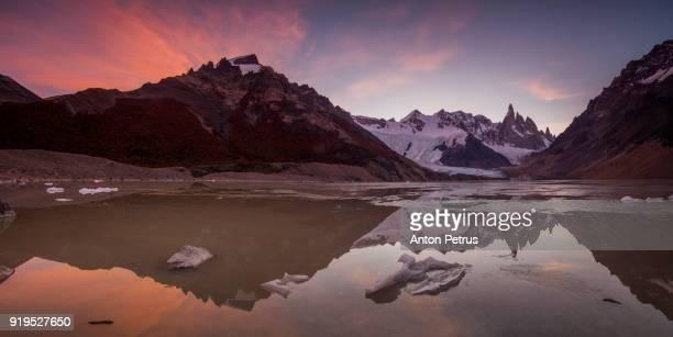 Panorama of sunrise at Cerro Torre.  Patagonia, Argentina