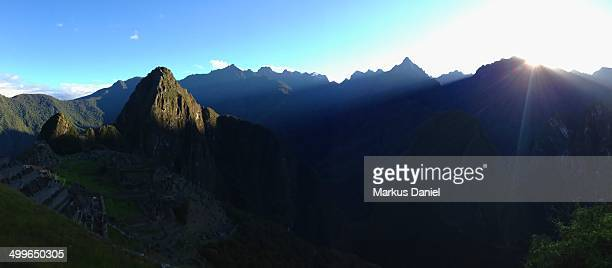 """panorama of sunrise over machu picchu - """"markus daniel"""" stock pictures, royalty-free photos & images"""