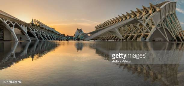 Panorama of sunset in City of Arts and Sciences, Valencia, Spain