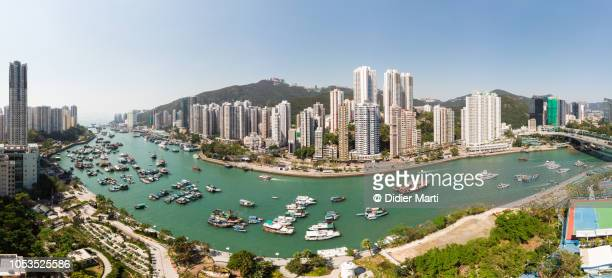 Panorama of the Aberdeen city and harbour in Hong Kong