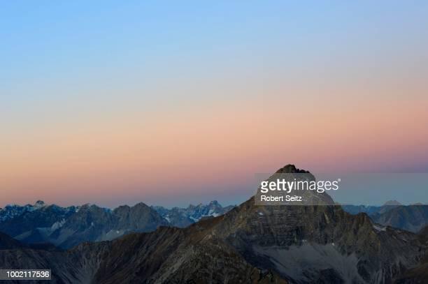 Panorama of the Alps at dusk, Namlos, Lechtal, Reutte, Tyrol, Austria