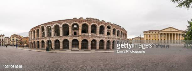 Panorama of the Arena and the City Hall, Verona, Italy