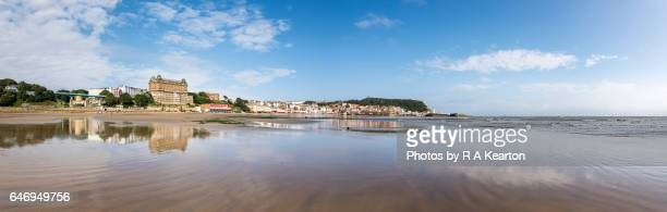 panorama of the beach at scarborough, north yorkshire, england - northeastern england stock photos and pictures