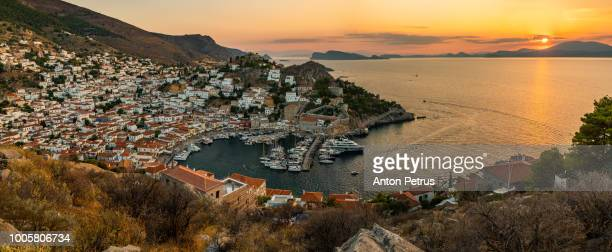 Panorama of the beautiful sunset of Hydra island, Greece