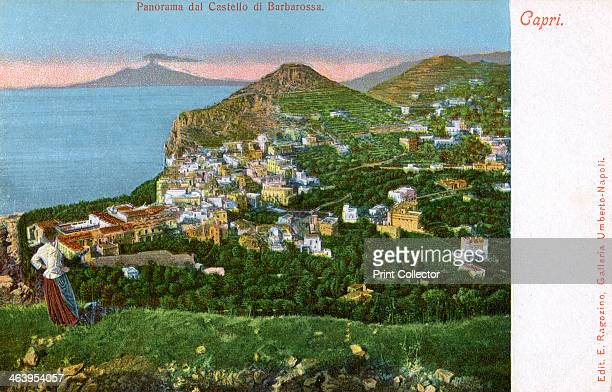 Panorama of the Castello di Barbarossa Capri Italy early 20th century Castello di Barbarossa is named after the Algerian pirate KairedDin known as...
