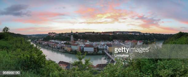panorama of the city burghausen - altötting stock photos and pictures